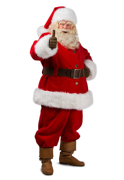 Santa Claus standing isolated on white background and thumbs up stock photo