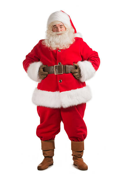Santa Claus standing isolated on white background stock photo