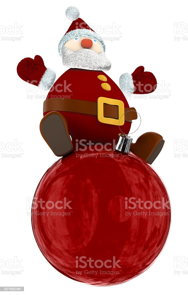 3D Santa Claus standing on top of a big globe royalty-free stock photo