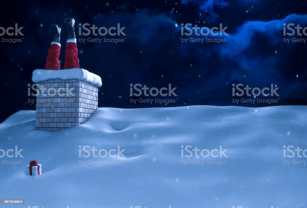 Santa Claus Stuck in Chimney on Roof Christmas stock photo