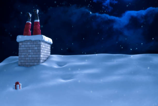 santa claus stuck in chimney on roof christmas - trap house stock pictures, royalty-free photos & images