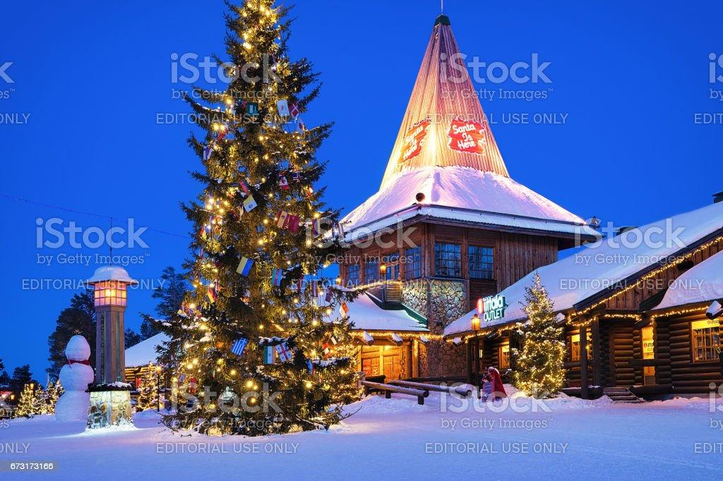 Santa Claus Village at Lapland Scandinavia at night stock photo