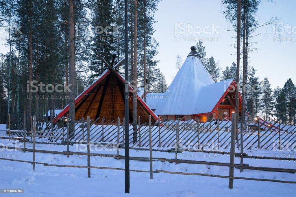 Santa Claus Village in Lapland at sunset stock photo