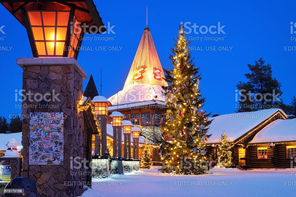 Santa Claus Village in Lapland Scandinavia at night stock photo