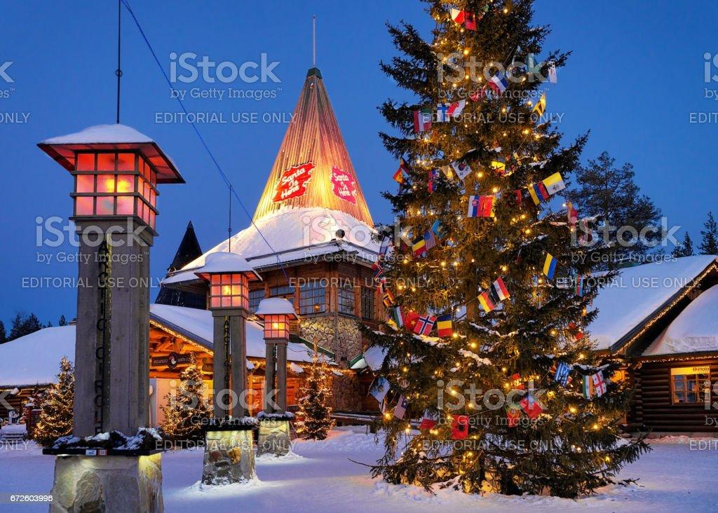 Santa Claus Village Lapland at night illuminated with light stock photo