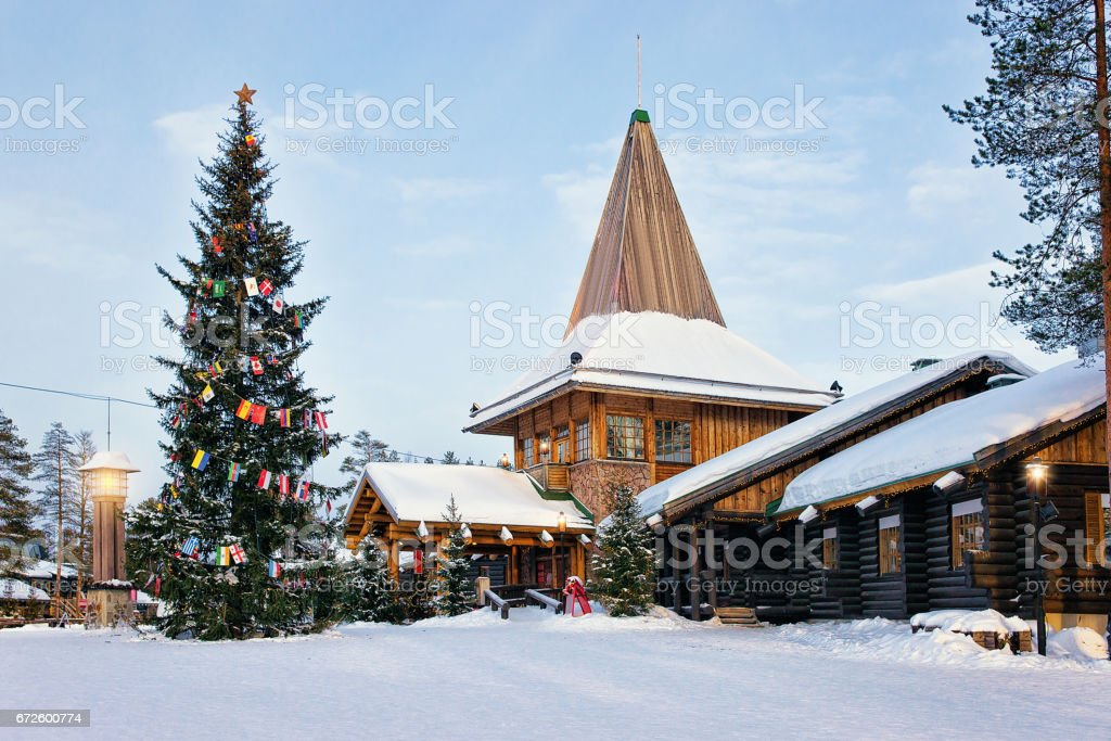 Santa Claus Village with Christmas tree Lapland stock photo