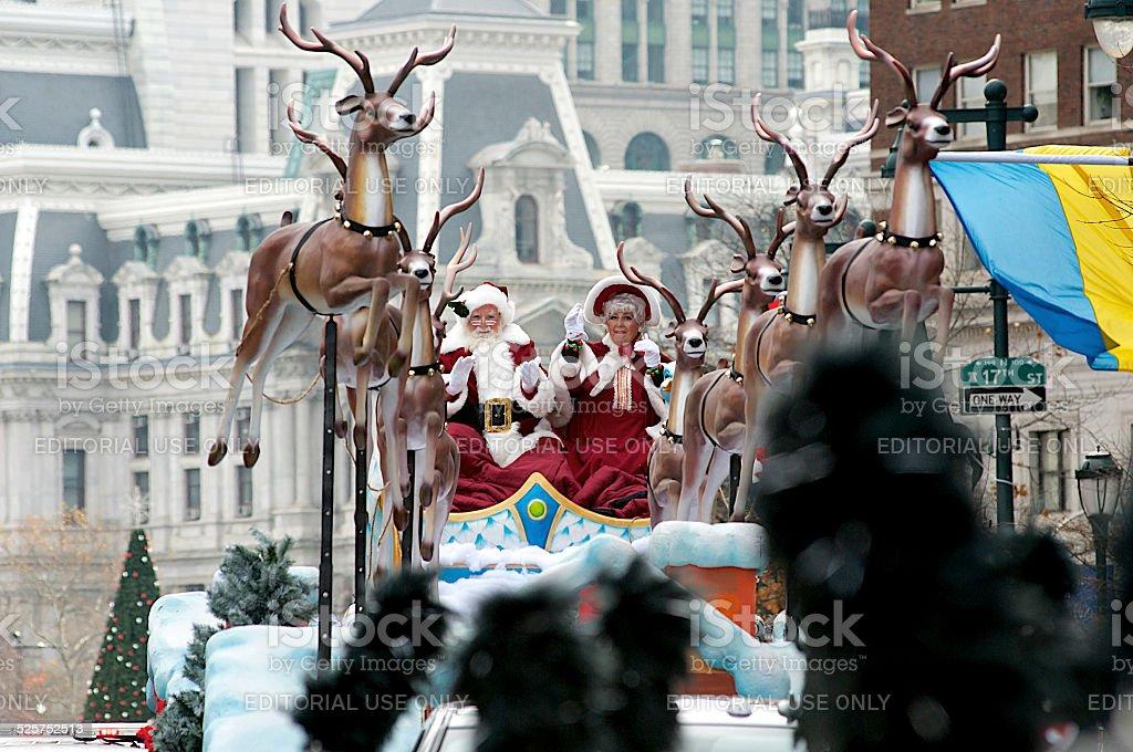 Santa Claus Welcomed at Thanksgiving Day Parade stock photo