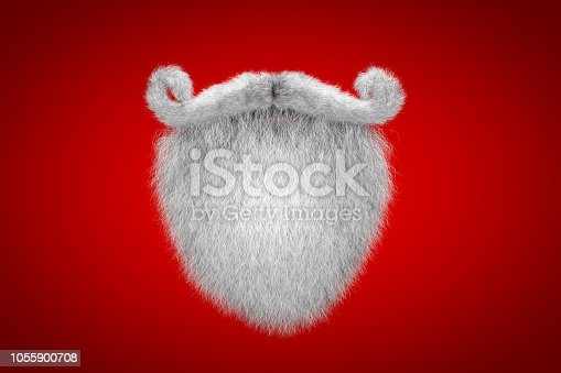 Santa Claus White Mustache and Spade Beard Christmas Background. 3D Illustration.