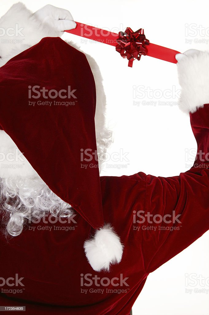 santa claus with a ribbon royalty-free stock photo