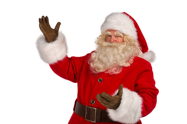 Santa Claus with a welcome gesture stock photo