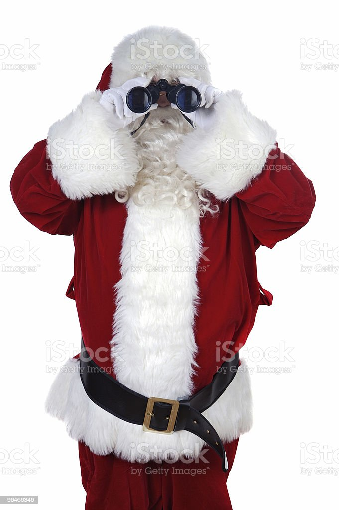 Santa Claus with binoculars royalty-free stock photo