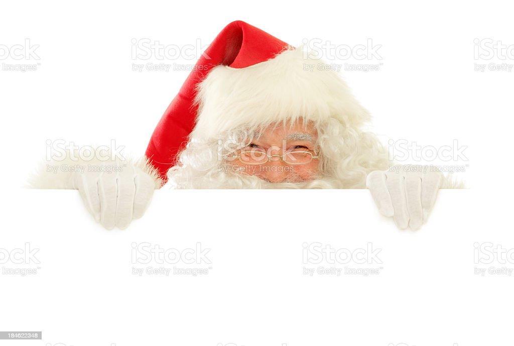Santa Claus mit leere Schild glücklich Guckschlitzen – Foto