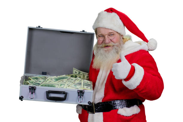 santa claus with case of hundred dollars. - holiday and invoice family foto e immagini stock