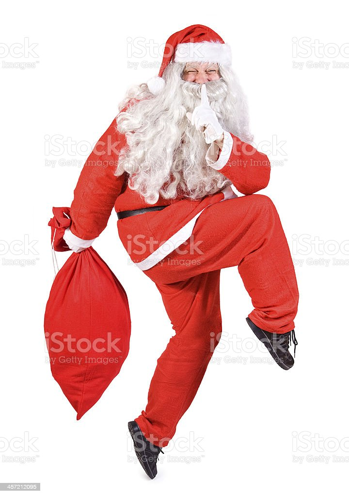 Santa Claus with Christmas bag stock photo