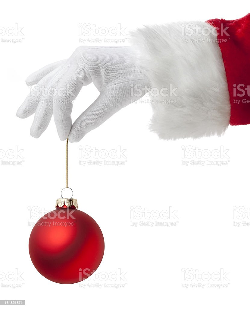 Santa Claus with Christmas ball. stock photo