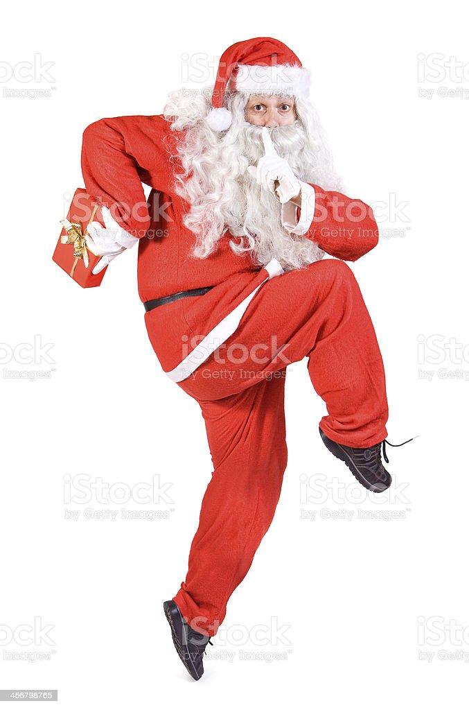 Santa Claus with Christmas box stock photo