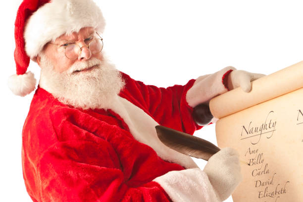 santa claus with christmas list of names on white background - mischief stock photos and pictures