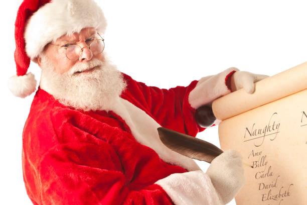 Père Noël Noël liste de noms sur fond blanc - Photo