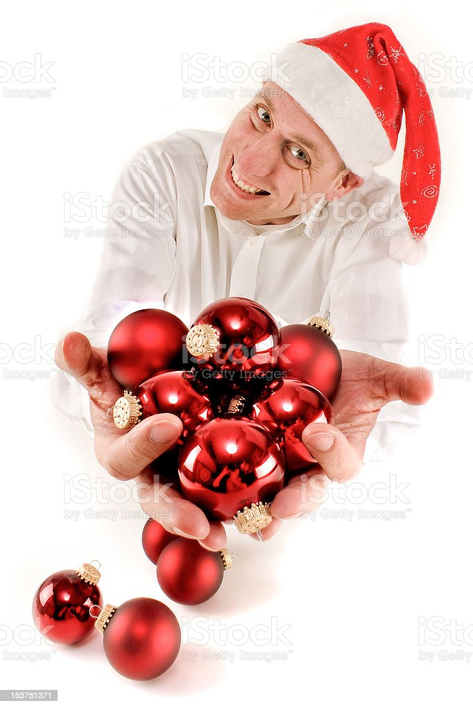 Santa Claus with Christmas tree balls stock photo
