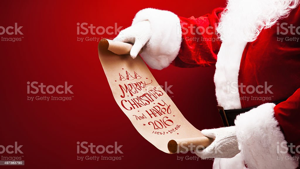 Santa Claus with congratulation stock photo