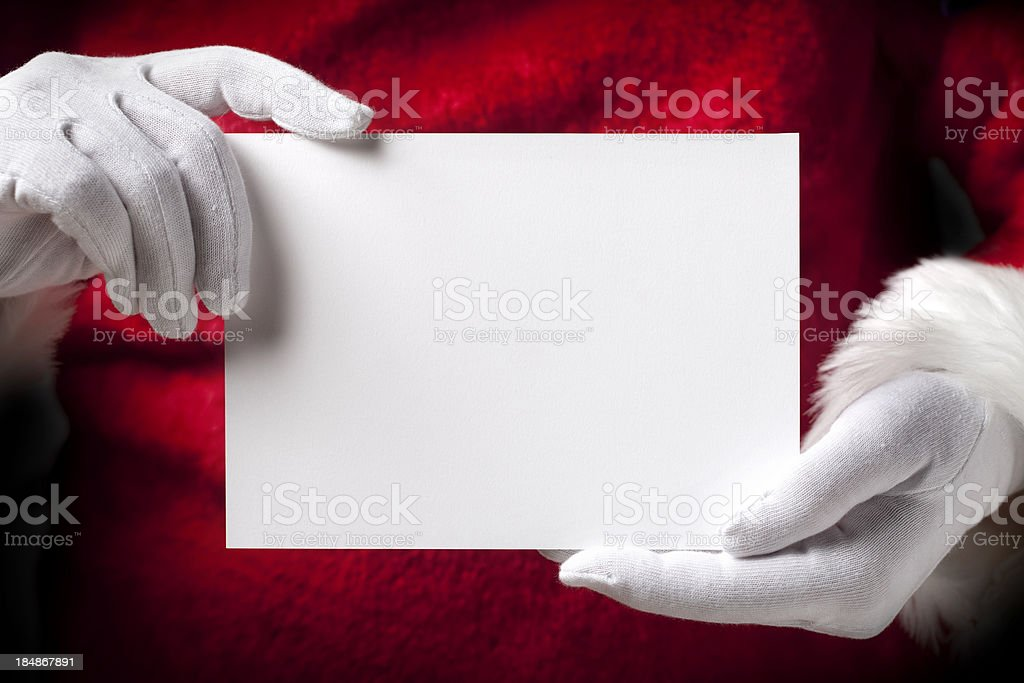 Santa Claus with greeting cards stock photo