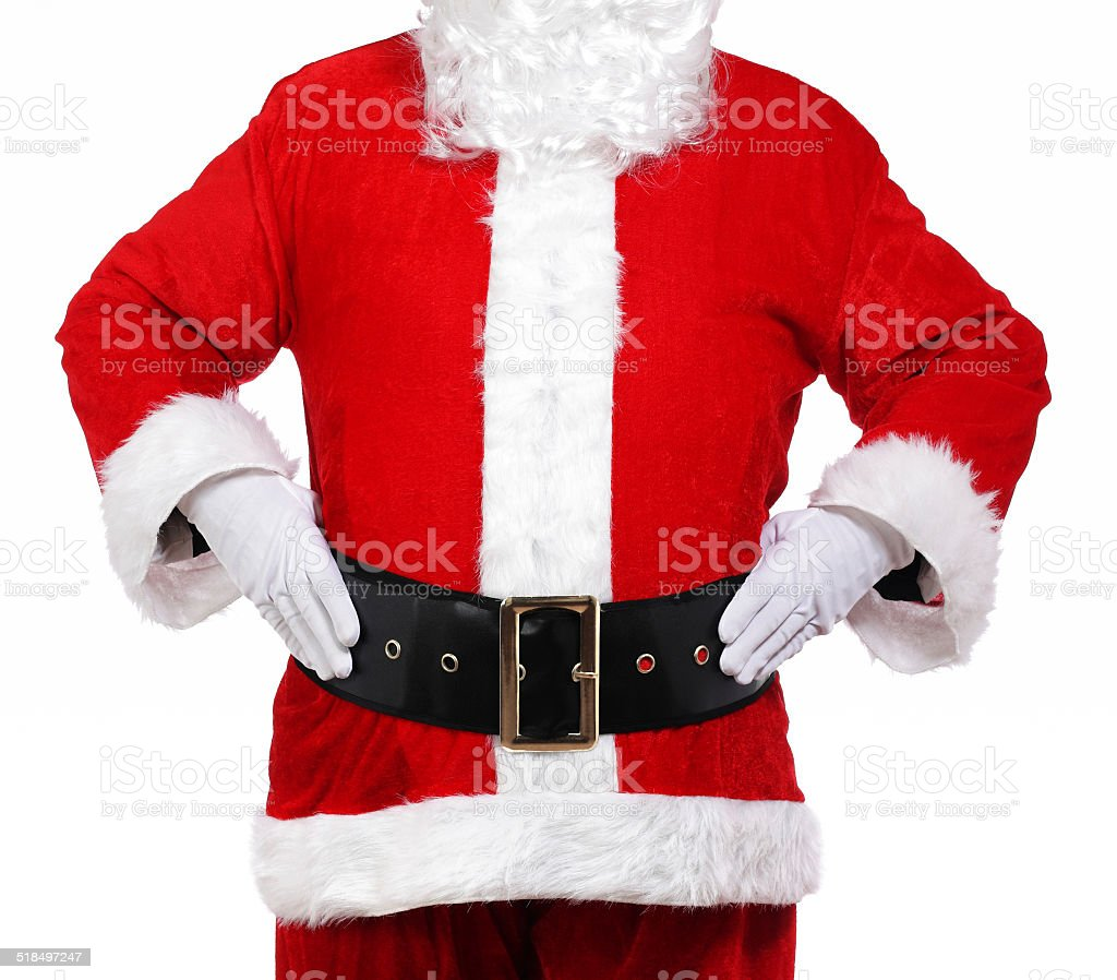 Santa Claus with his hands on his hips stock photo