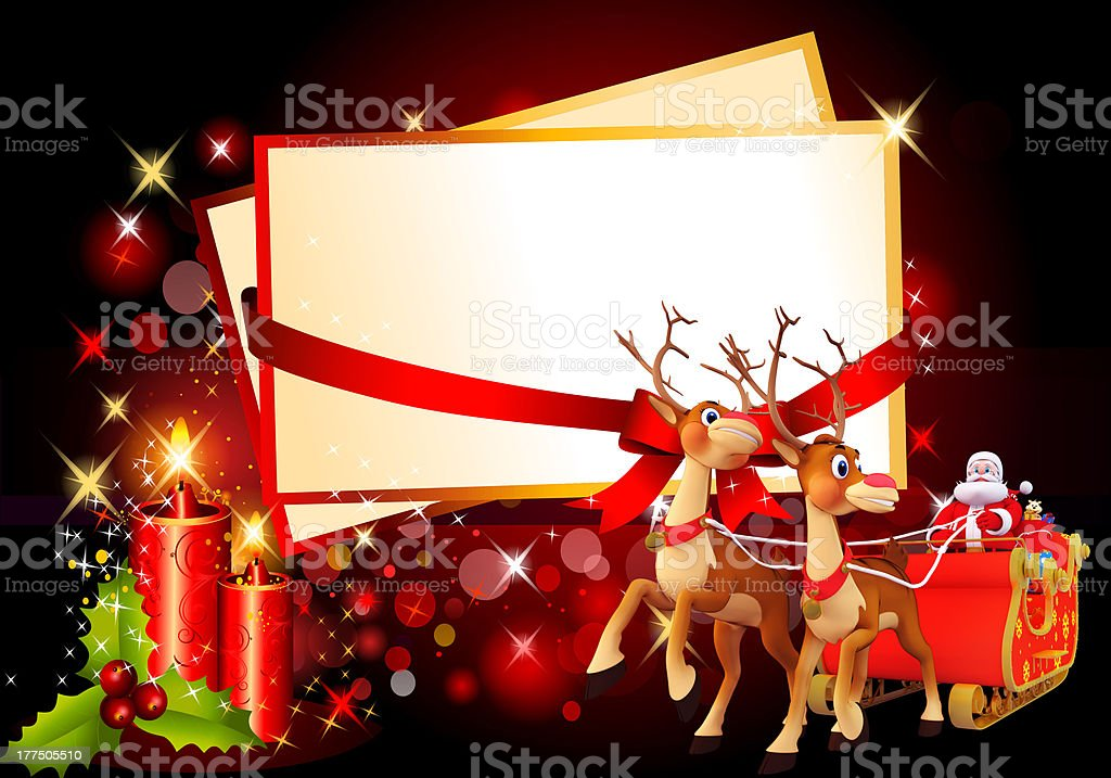 santa claus with his sleigh and candles on red background stock photo