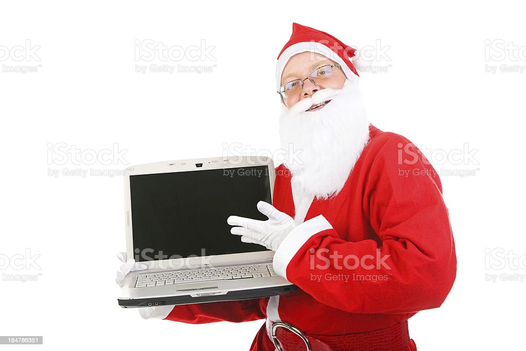 santa claus with laptop royalty-free stock photo
