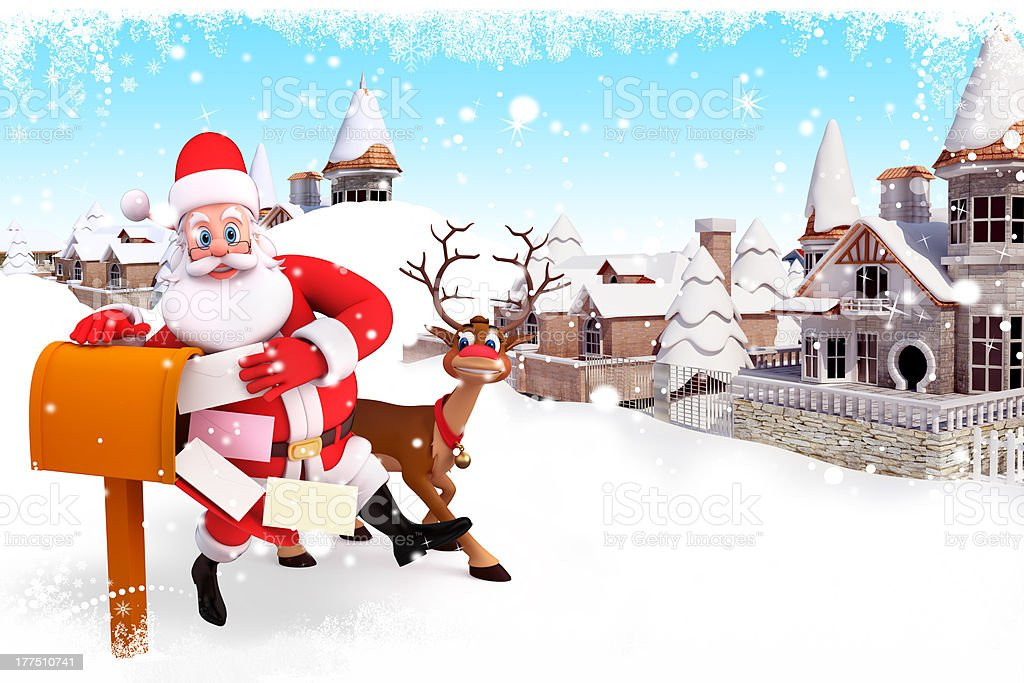 santa claus with lots of letters and reindeer stock photo