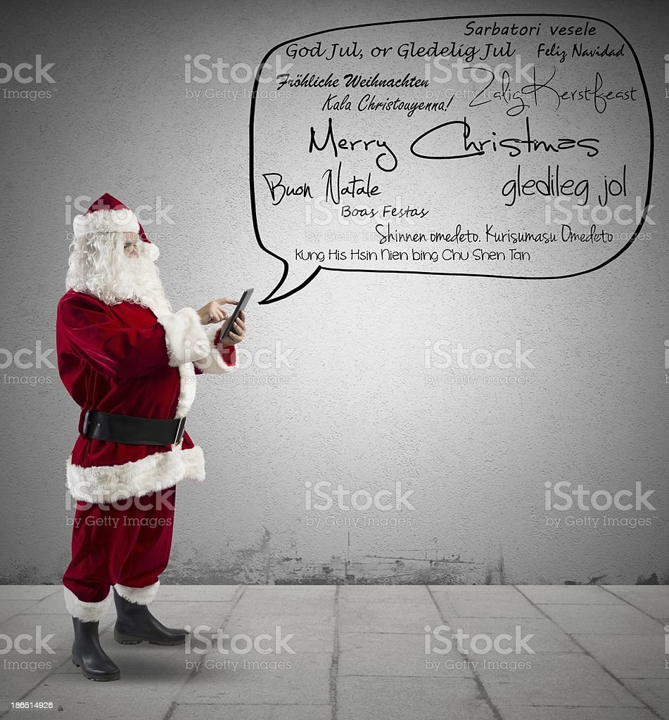 Santa Claus with Merry Christmas message royalty-free stock photo