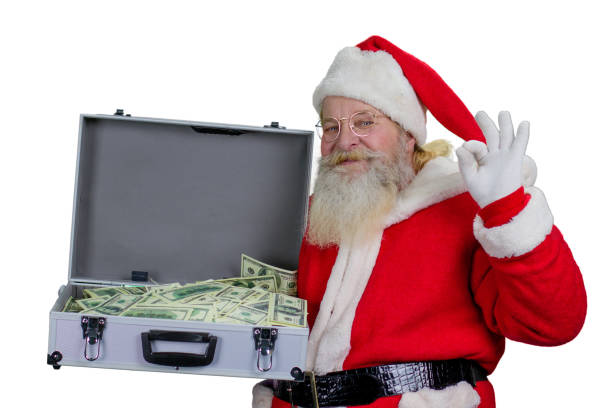 santa claus with open case full of money. - holiday and invoice family foto e immagini stock