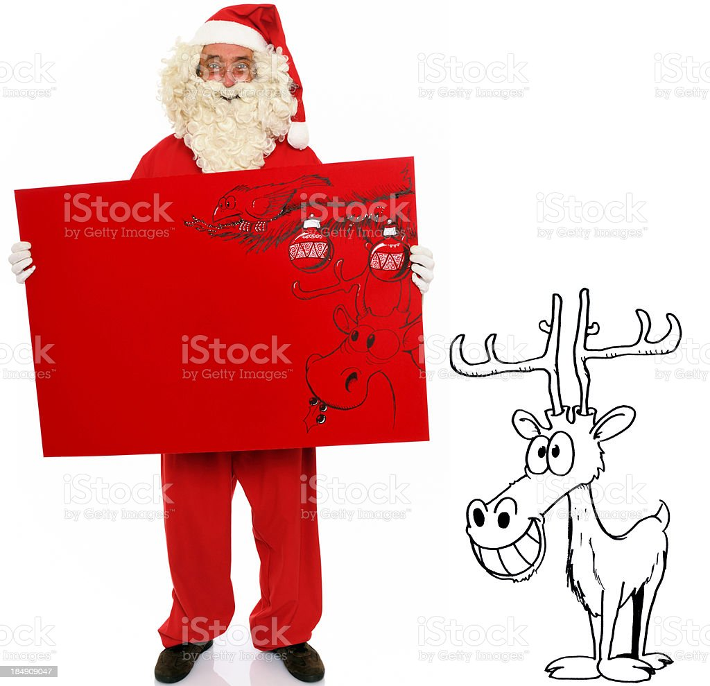 Santa Claus with reindeer and Christmas card stock photo