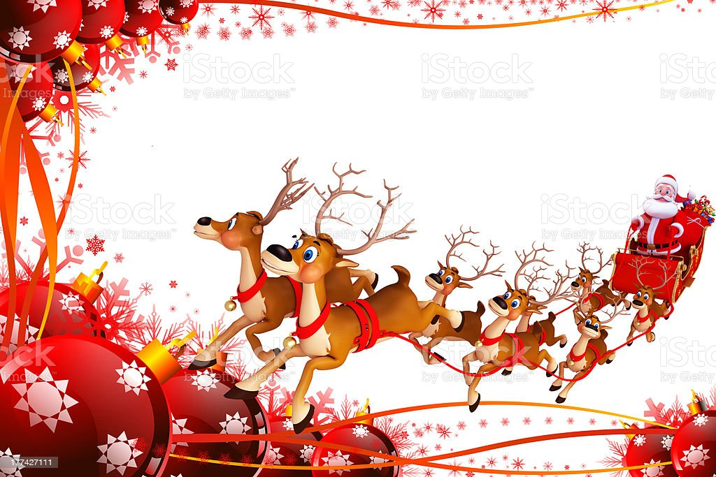 santa claus with reindeer and his sleigh stock photo