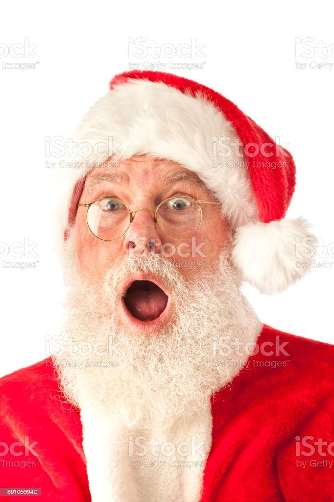 Santa Claus mit überrascht aufgeregt Ausdruck auf weißem Hintergrund – Foto