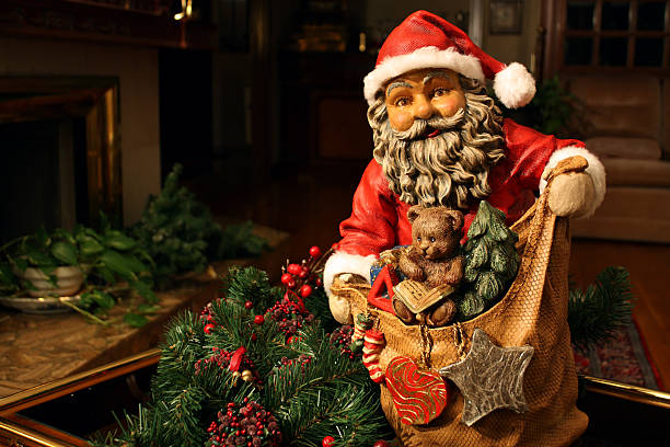 Santa Claus with the gifts bag stock photo