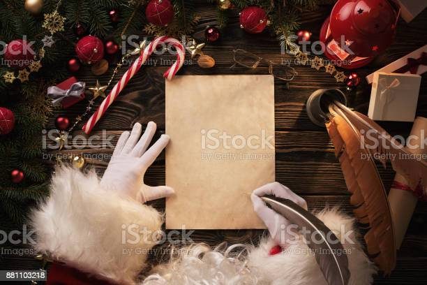 Santa claus writting letter on wooden table picture id881103218?b=1&k=6&m=881103218&s=612x612&h=nolkv9zyy4sd80zz62dlithx5emaoj8vvyj8ca8tm6o=