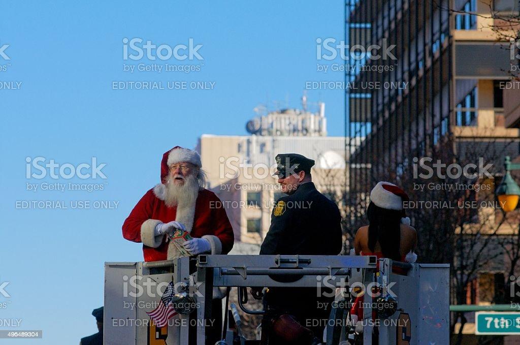 Santa Clause at Veterans Parade, Philadelphia, PA stock photo