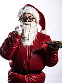 Santa Clause Drinking Milk and Cookies