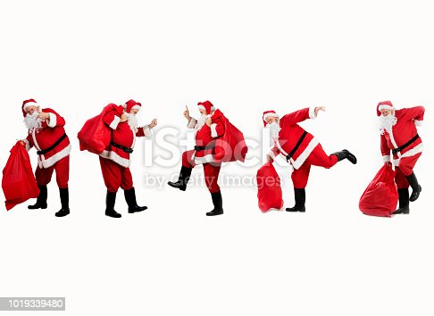 Multiple photos of happy Santa Clause hurting his back