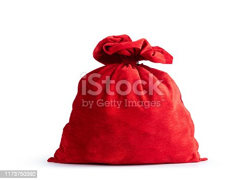 istock Santa Claus's red bag full with gift, isolated on white background. File contains a path to isolation. 1173750392