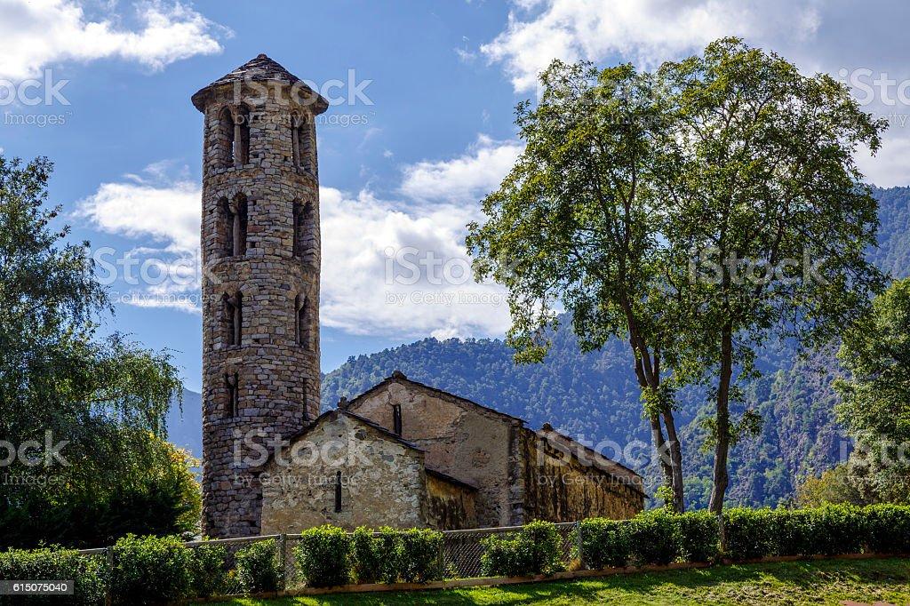 Santa Coloma church of pre-Romanesque structure at Andorra stock photo