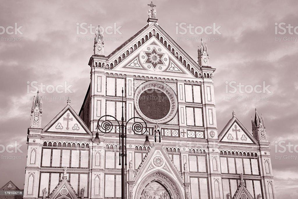 Santa Croce Church and Lamppost, Florence stock photo