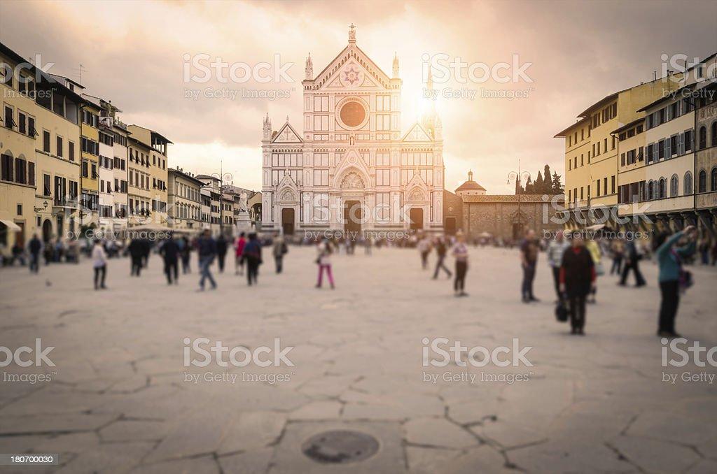 Santa Croce square in Florence stock photo