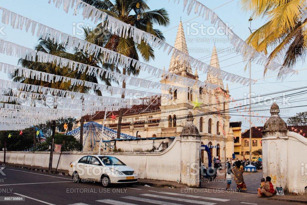 Santa Cruz Basilica before Christmas in Fort Kochi stock photo