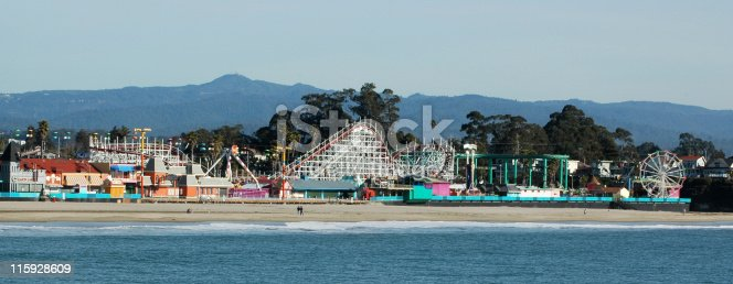 Santa Cruz Beach Boardwalk. Includes Giant Dipper, a wooden coaster built in 1924. Santa Cruz, California. California Registered Historical Landmark No. 983. National Register of Historic Places.