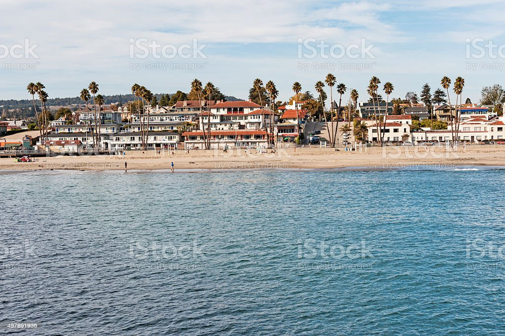 Santa Cruz Beach views with homes motels and people stock photo