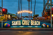 Santa Cruz, California, USA - January 6, 2018 : Entrance to the Santa Cruz Boardwalk in the morning before sunrise. This vintage seaside amusement park was founded in 1907.