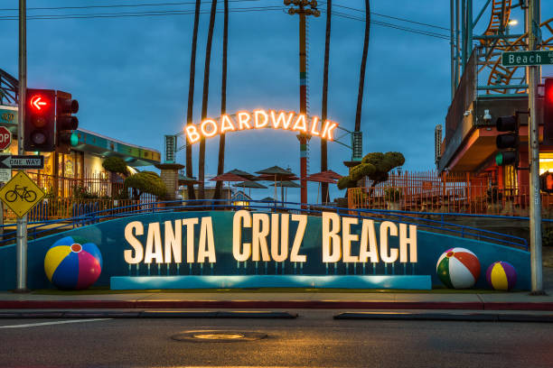 Santa Cruz Boardwalk and amusement park stock photo