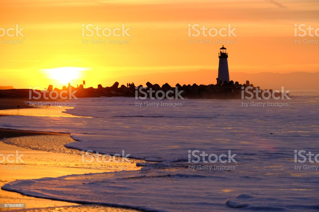 Santa Cruz Breakwater Light (Walton Lighthouse) at sunrise royalty-free stock photo