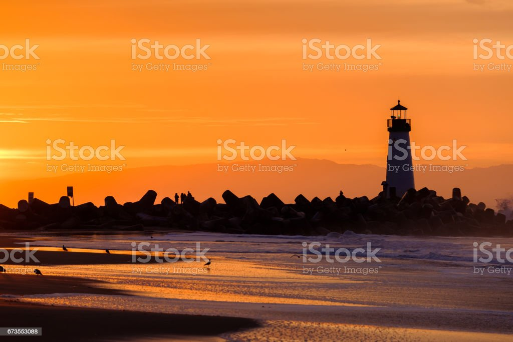 Santa Cruz Breakwater Light (Walton Lighthouse) at sunrise royalty-free stock photo